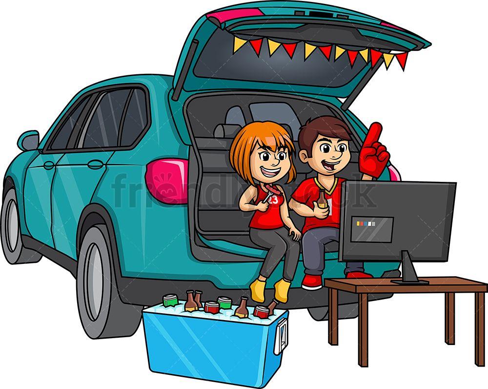 Couple Tailgating Cartoon clip art, Clip art, Cartoon