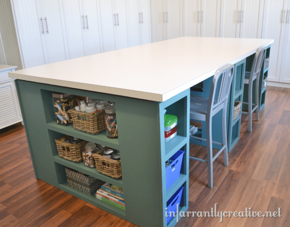 Large Craft Table is part of Craft room tables, Craft tables with storage, Craft room storage, Diy craft room, Craft room design, Craft room office - Thank you for all of your wonderful comments about my paint shelf with hidden door and my wall mount ironing board  Let's move on, shall we  I am excited to show you my next project which is my studio craft table  Let's be honest, this thing is large, coming in at nearly 40 square feet     Read More