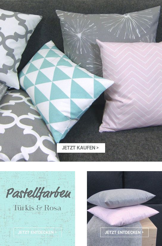 Kissen skandinavisch grafisch in rosa,pastell, grau, türkis und weiß