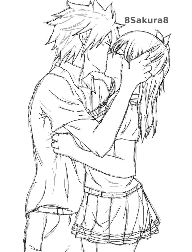 Anime Couple Kissing Coloring Pages Novocom Top