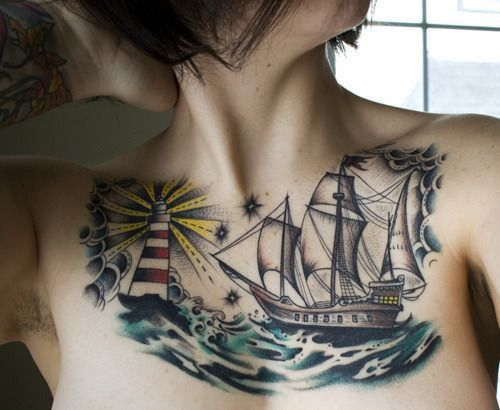 Chest tattoo pattern for girls
