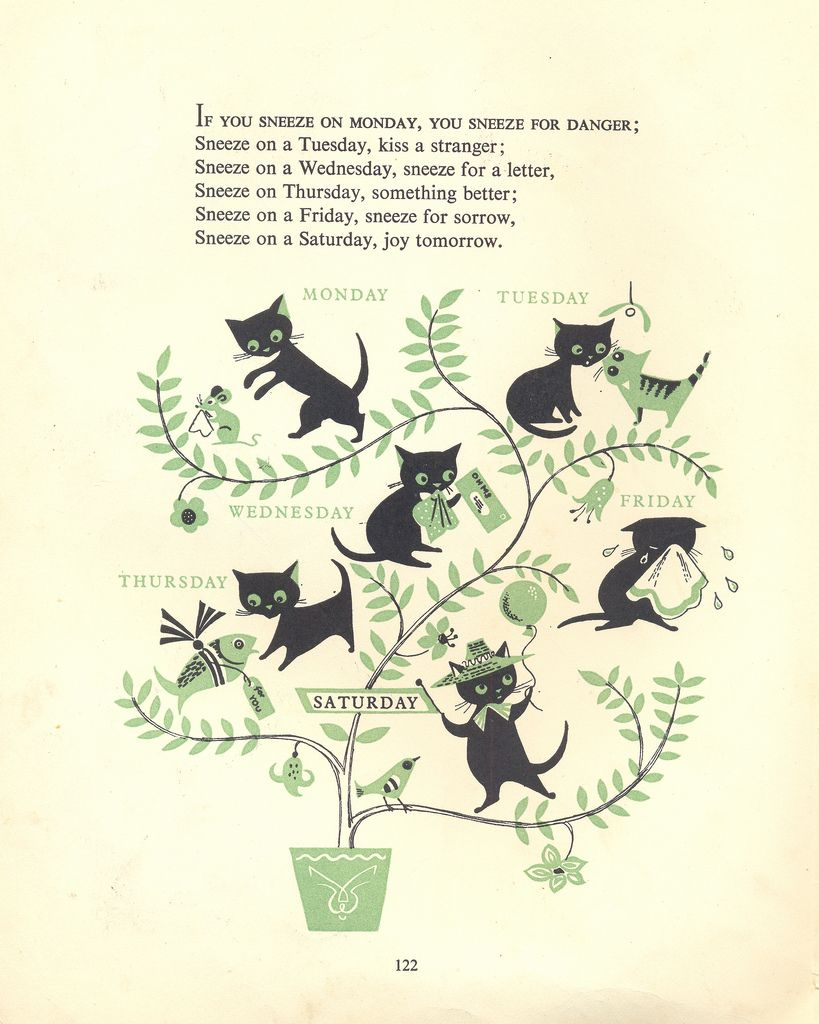 Ah-choo! – A page from a vintage children's book illustrated by Esme Eve, 'Mother Goose Nursery Rhymes'.