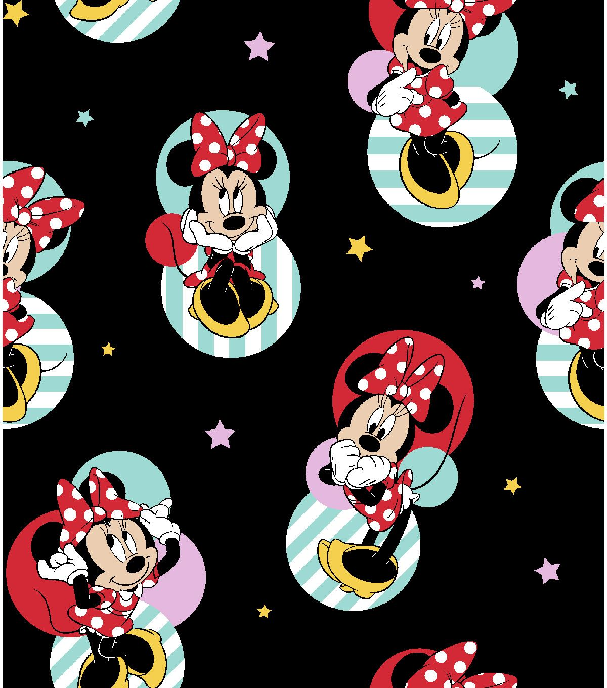 Baby Pink Disney Minnie Mouse Nursery Cotton Fabric Quilting Upholstery Mickey