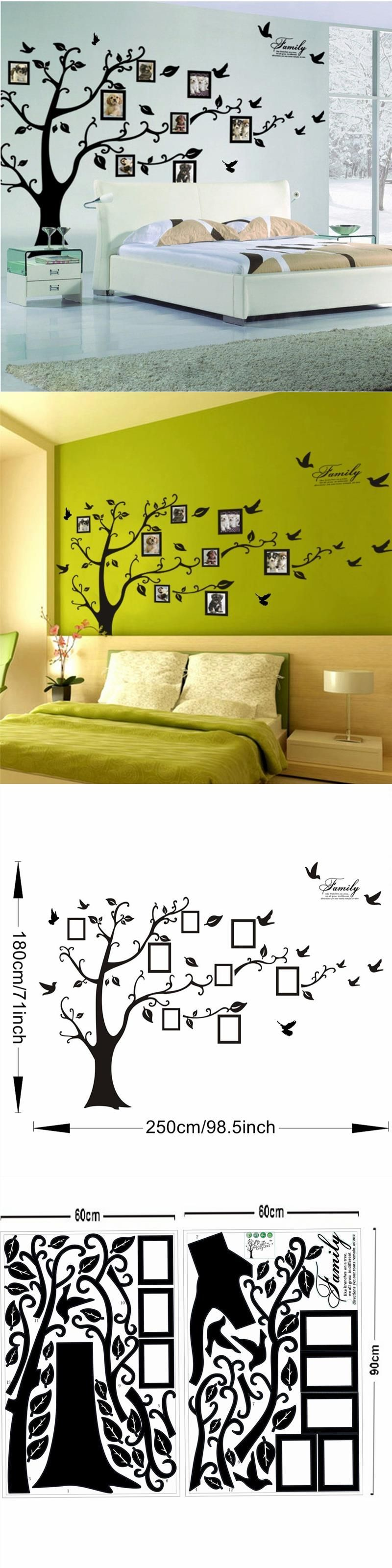 pictures frame large tree wall decals living room decoration family ...