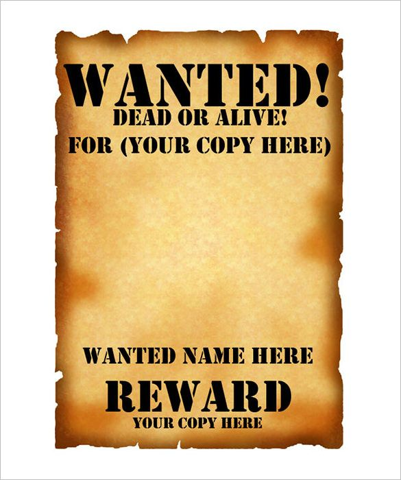 Wanted Poster Template – 53+ Free Printable Word, PSD ... | Planning ...