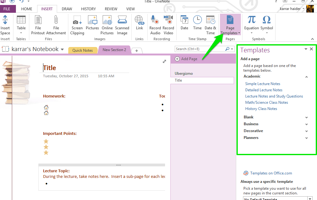 microsoft office onenote templates