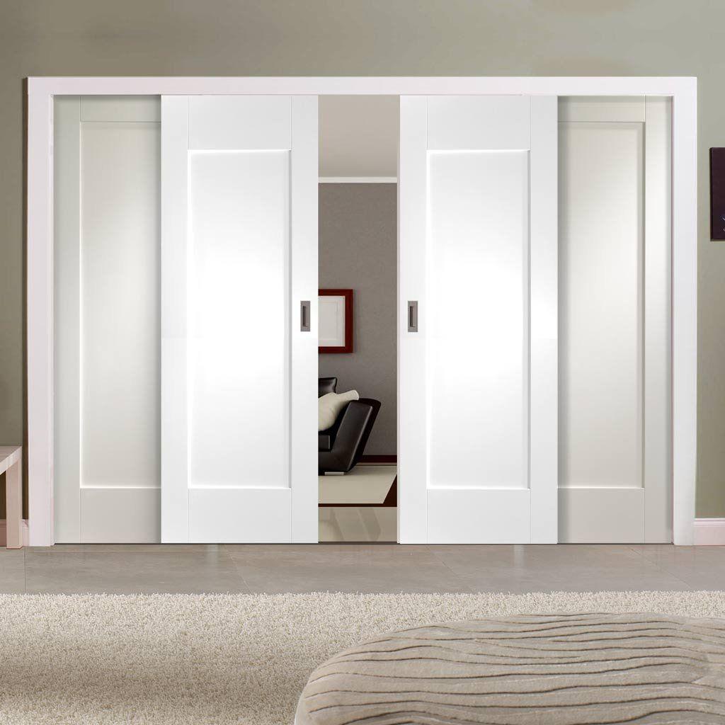 Image result for white shaker sliding wardrobe closet for Internal sliding doors systems
