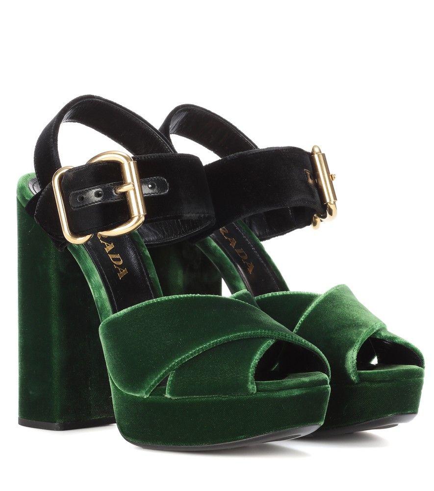 Velvet shoes, Velvet sandals, Prada shoes