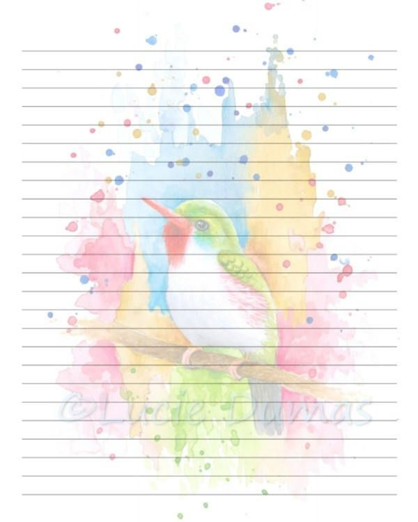 Digital Printable Journal Page Bird 72 multicolor Stationary 8x10 - college ruled lined paper template