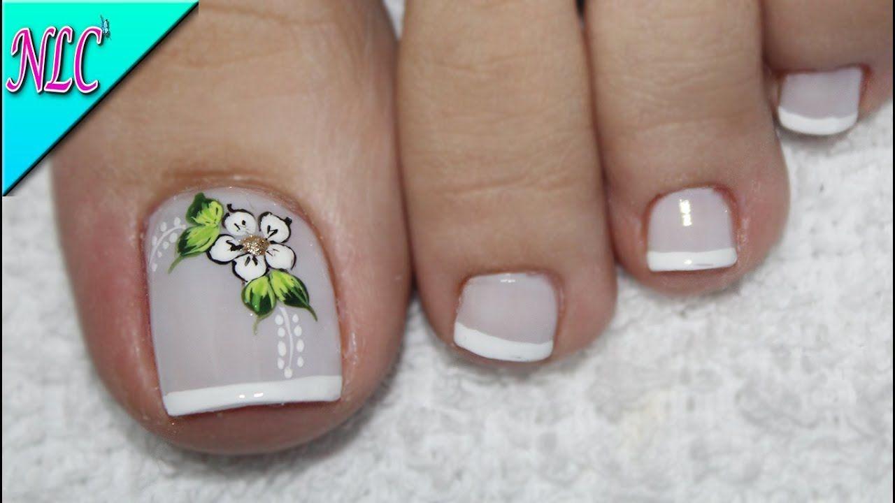Diseno De Unas Para Pies Flor Y Frances Muy Facil Flower