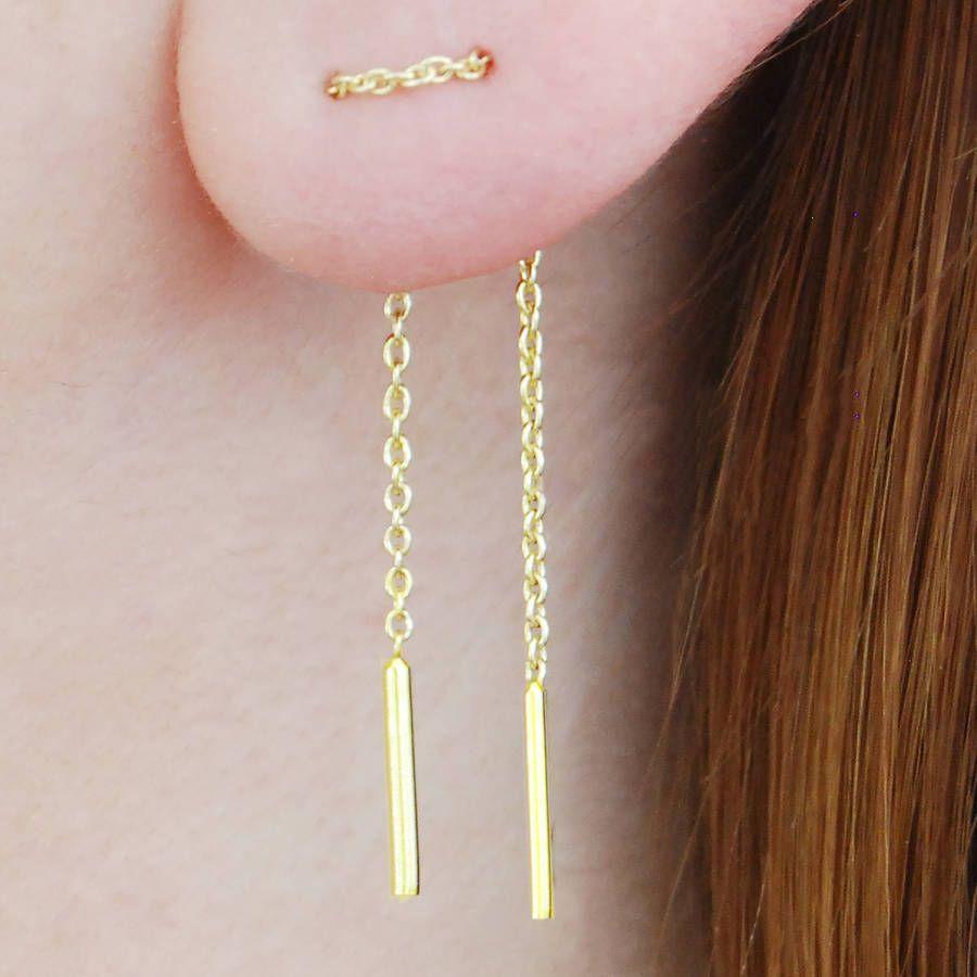 Gold Sterling Silver Chain Threader Earrings