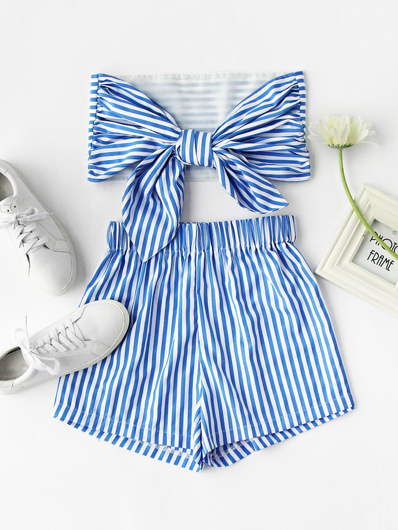 Stripe Bow Tie Back Strapless Crop Top With Shorts