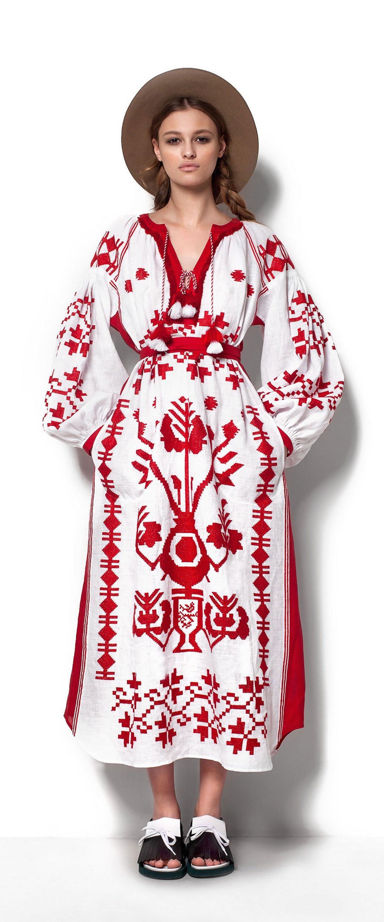 White Boho Embroidered Dress