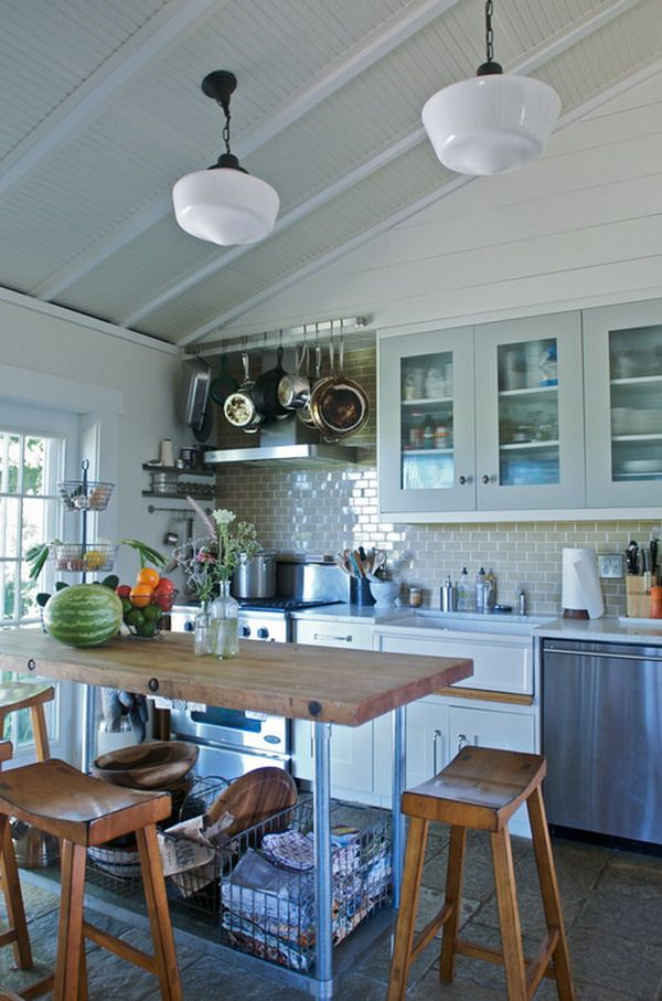 How to Decorate Farmhouse Kitchen Ideas: Love the hanging pots and ...