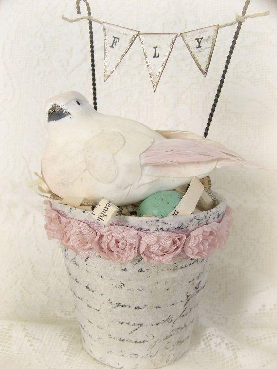 Handmade  Bird Flower Pot for Spring~