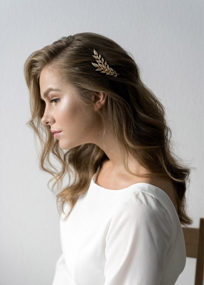 Bridal hair comb Branch bridal headpiece Wedding hair comb Metal leaves Bridal hair piece Bridal hair pins Wedding hair piece Gold Leaf comb