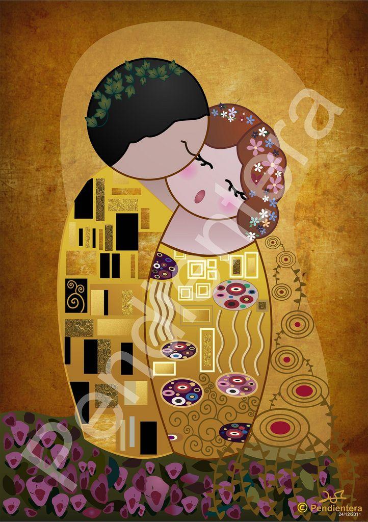 Kokeshi The Kiss of Klimt by Pendientera | Arte (Parodias ...