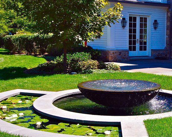 garden design ideas water features fountain lily pond