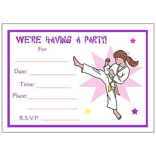 Karate Or Martial Arts Girl Fill In The Blank Invitations