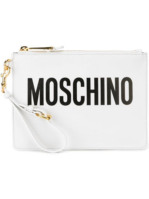 MOSCHINO Logo Clutch. #moschino #bags #shoulder bags #clutch #leather #hand bags #