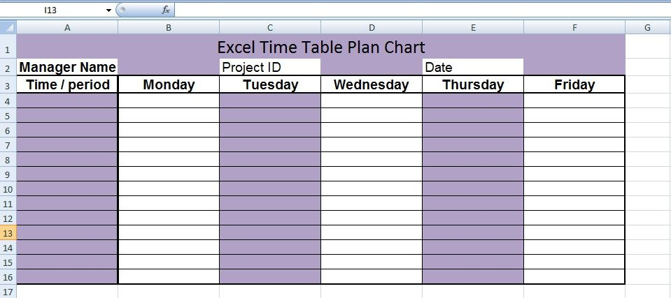Free Excel Timetable Plan Chart Template  Microsoft Office Chart