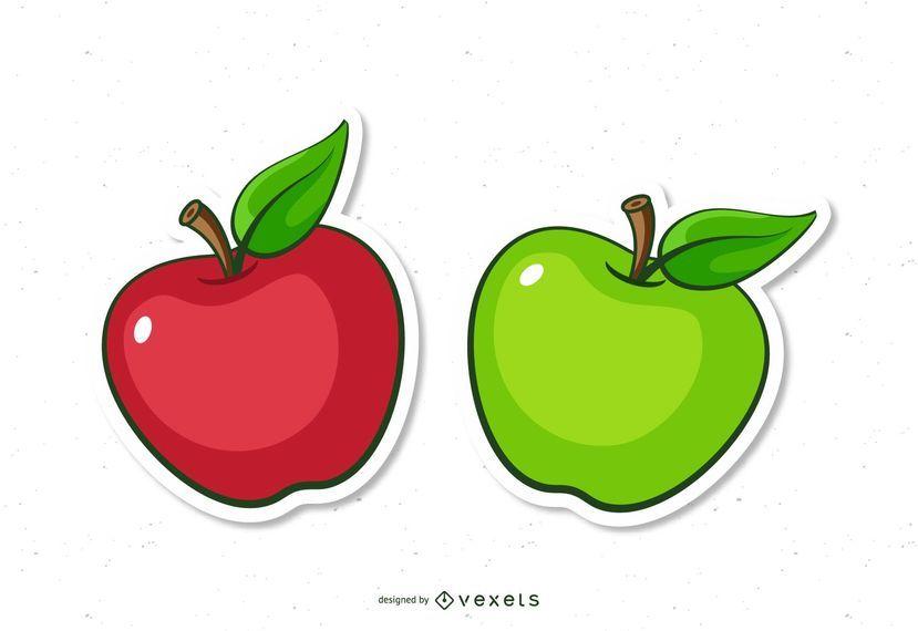 Red And Green Apple Cartoons Manzanas Dibujo Etiquetas Hechas A Mano Dia De Los Maestros