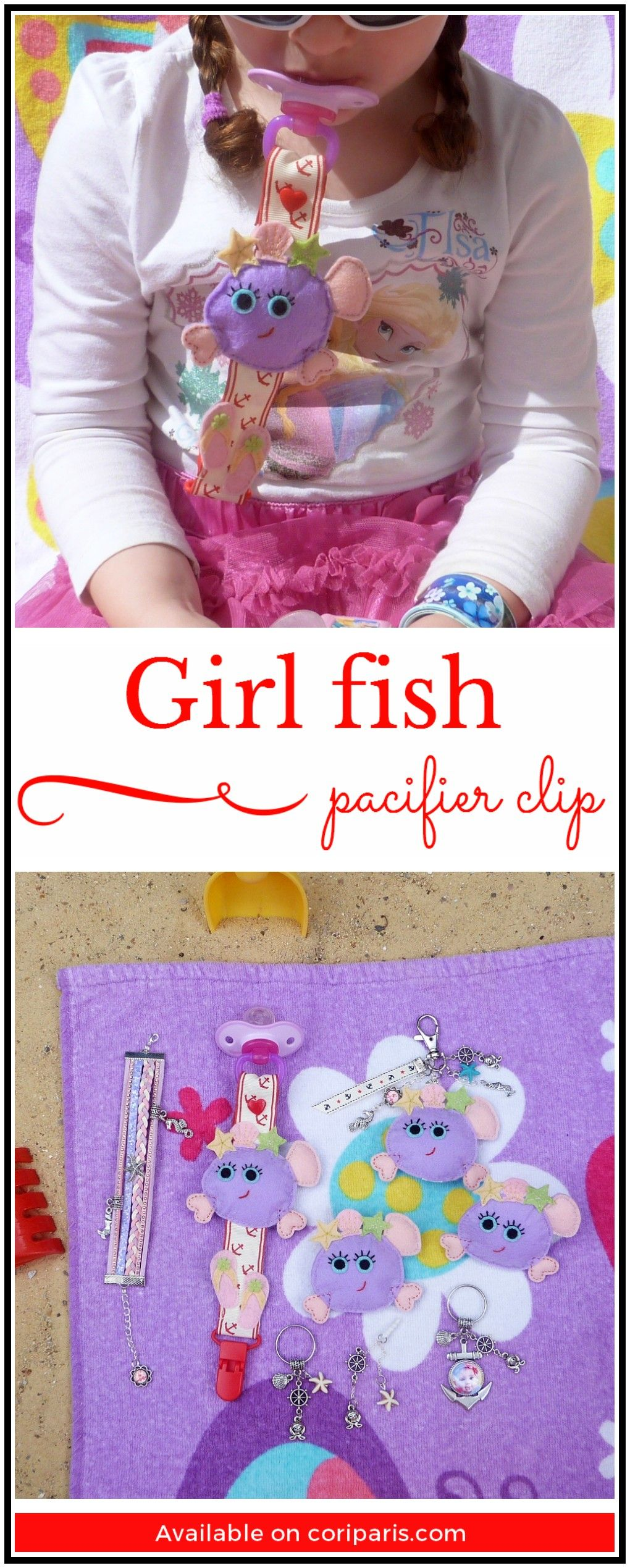 Handmade Baby Pacifier Clip, Summer 2017 Special Edition, Girl Fish
