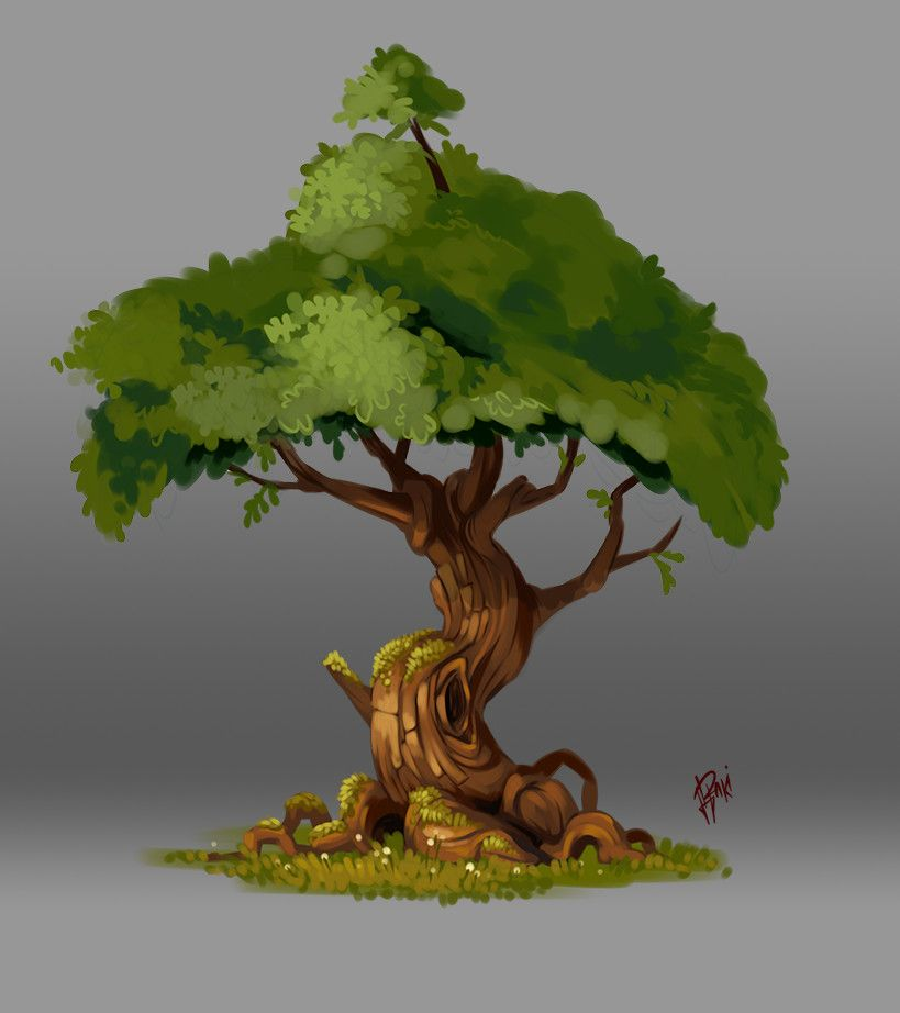 Color Sketch, tree 002, Raki Martinez on ArtStation at https://www.artstation.com/artwork/vEQAx