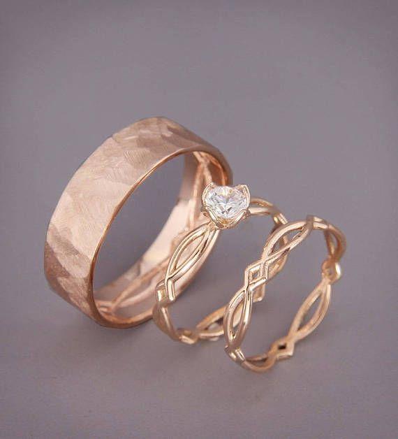 Anillo de compromiso de eternidad de oro rosa y anillos de boda engastados | Anillo de compromiso de oro rosa de 14 k con diamantes y anillos de boda a juego