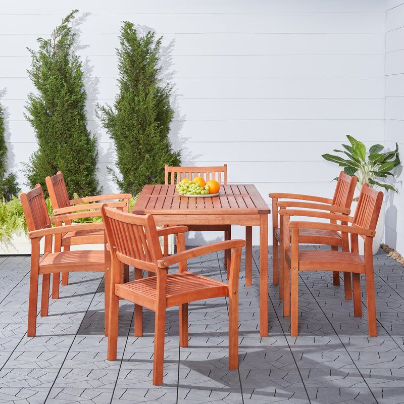 Amabel 7 Piece Dining Set Reviews Joss Main Patio Dining Set Outdoor Stacking Chairs Outdoor Dining