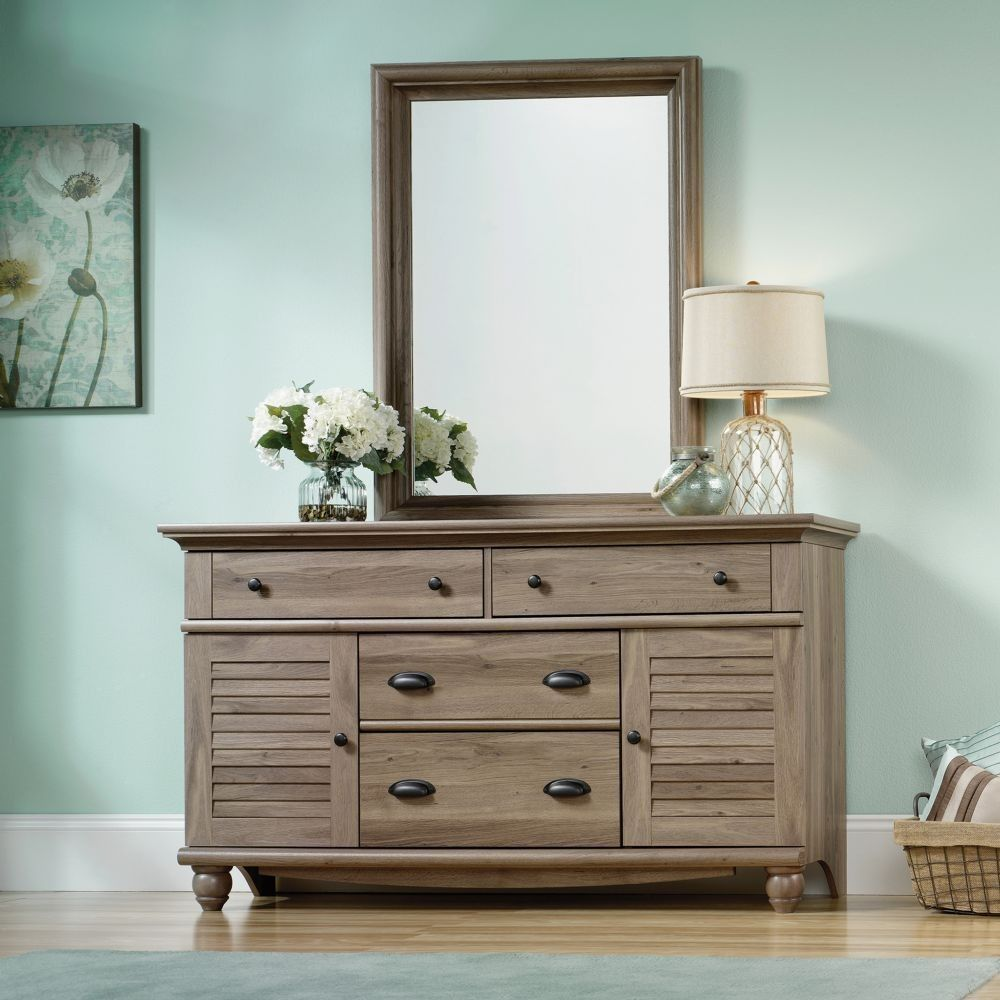 Sauder 414942 Harbor View Salt Oak Dresser With Mirror