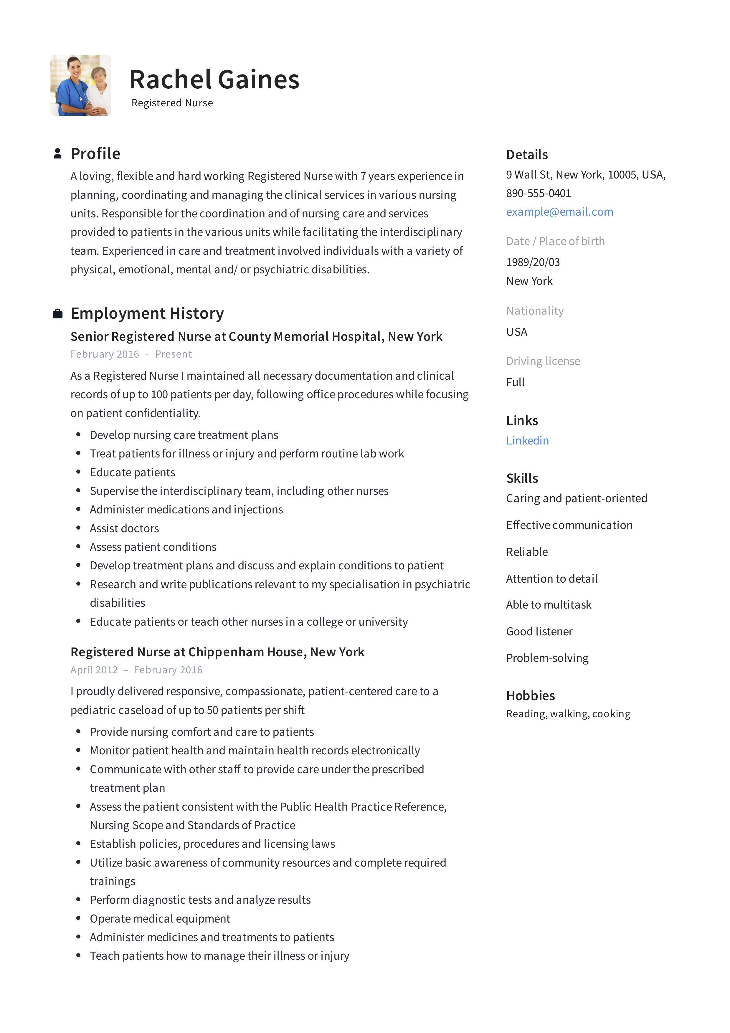 Registered Nurse Resume Sample & Writing Guide in 2020