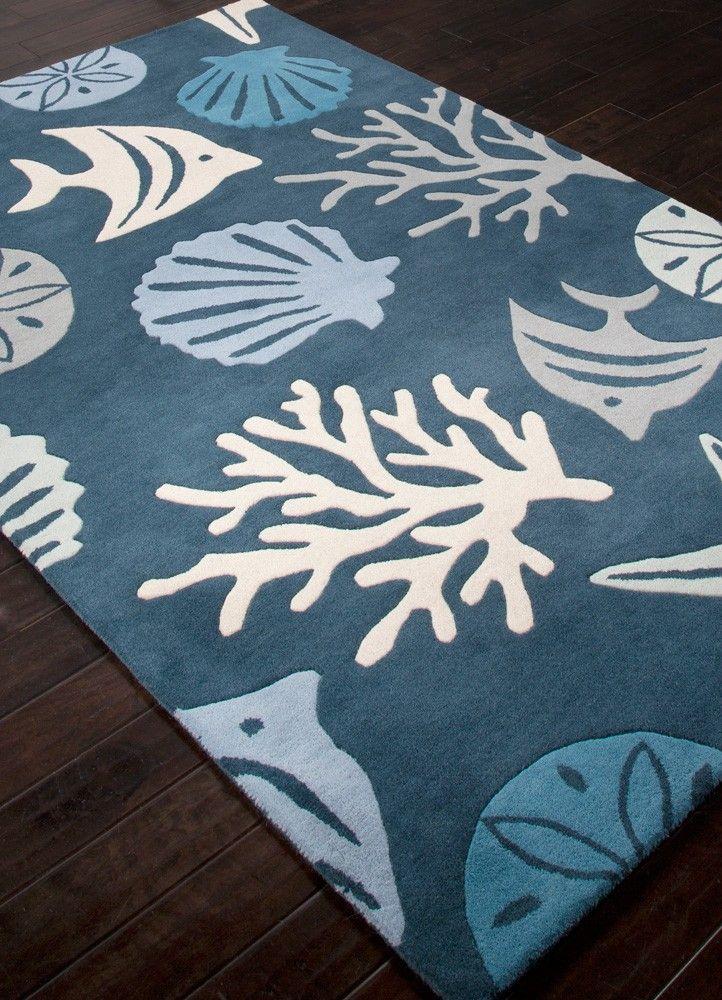 Dark Blue Aquarium Sealife Wool Rug From The Coastal