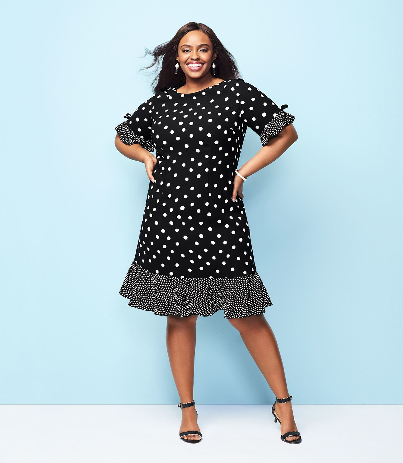 Dazzling In Dots This Modern Shift Dress Is Both Stylish And Fun Flounce In The Sleeve And At The Hem Give I Fashion Classy Clothes For Women Talbots Fashion [ 1490 x 1295 Pixel ]