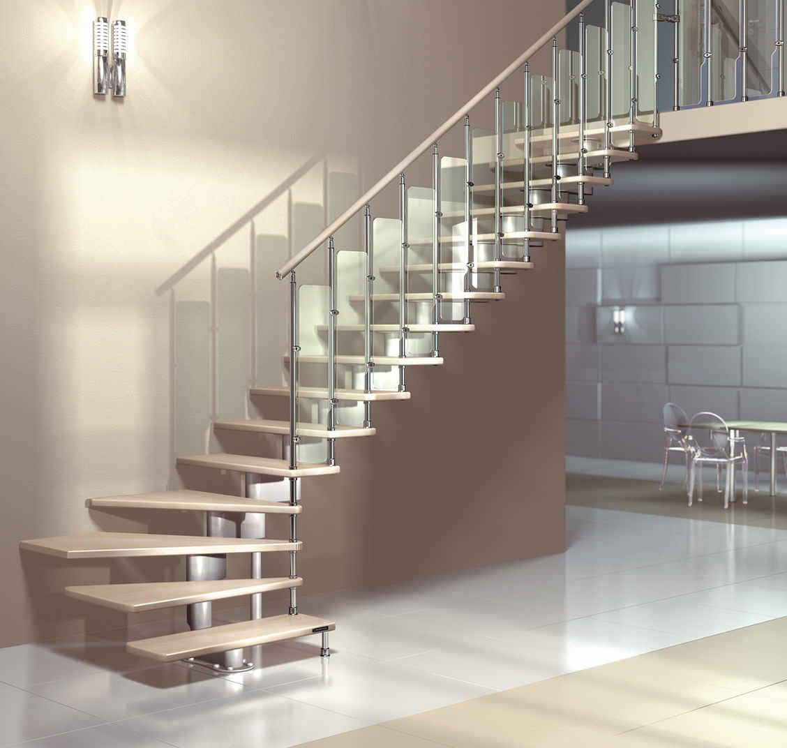 Escalera en l con zanca central modular para espacios for Mobirolo spa