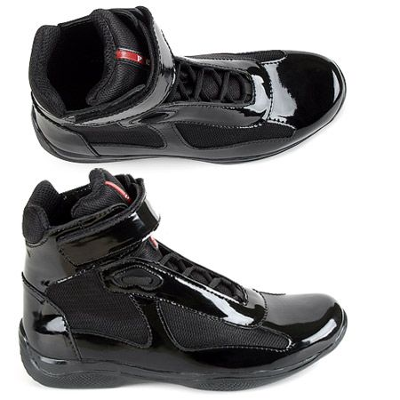 Prada Black Patent Leather High Top Sneakers