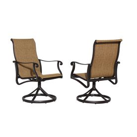 Allen Roth Set Of 2 Safford Brown Sling Aluminum Swivel Patio Dining Chairs