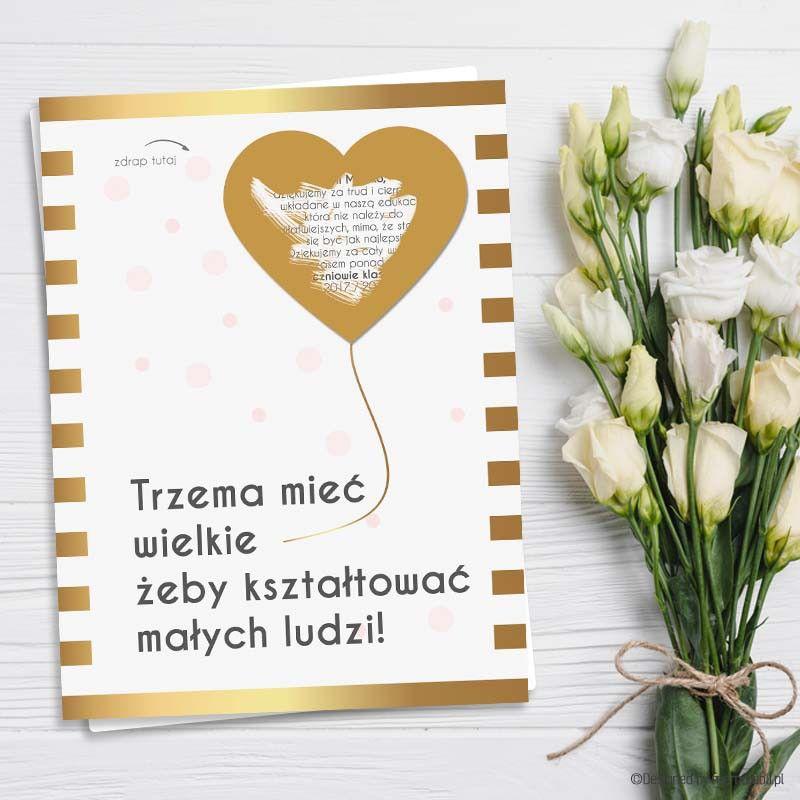 Kartka Dla Nauczyciela Wielkie Serce Balonik Kartka Zdrapka Graduation Party Invitations Teacher Gifts Diy Cards