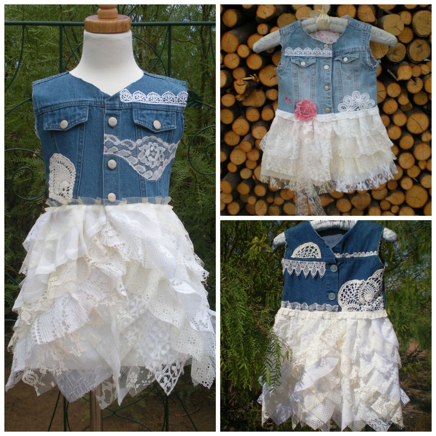 Flower girlus ruffled lace and denim dress country chic by