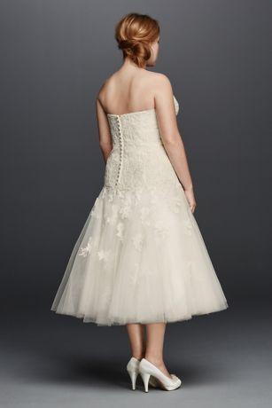 Oleg Cassini Tea Length Plus Size Wedding Dress | David's ...