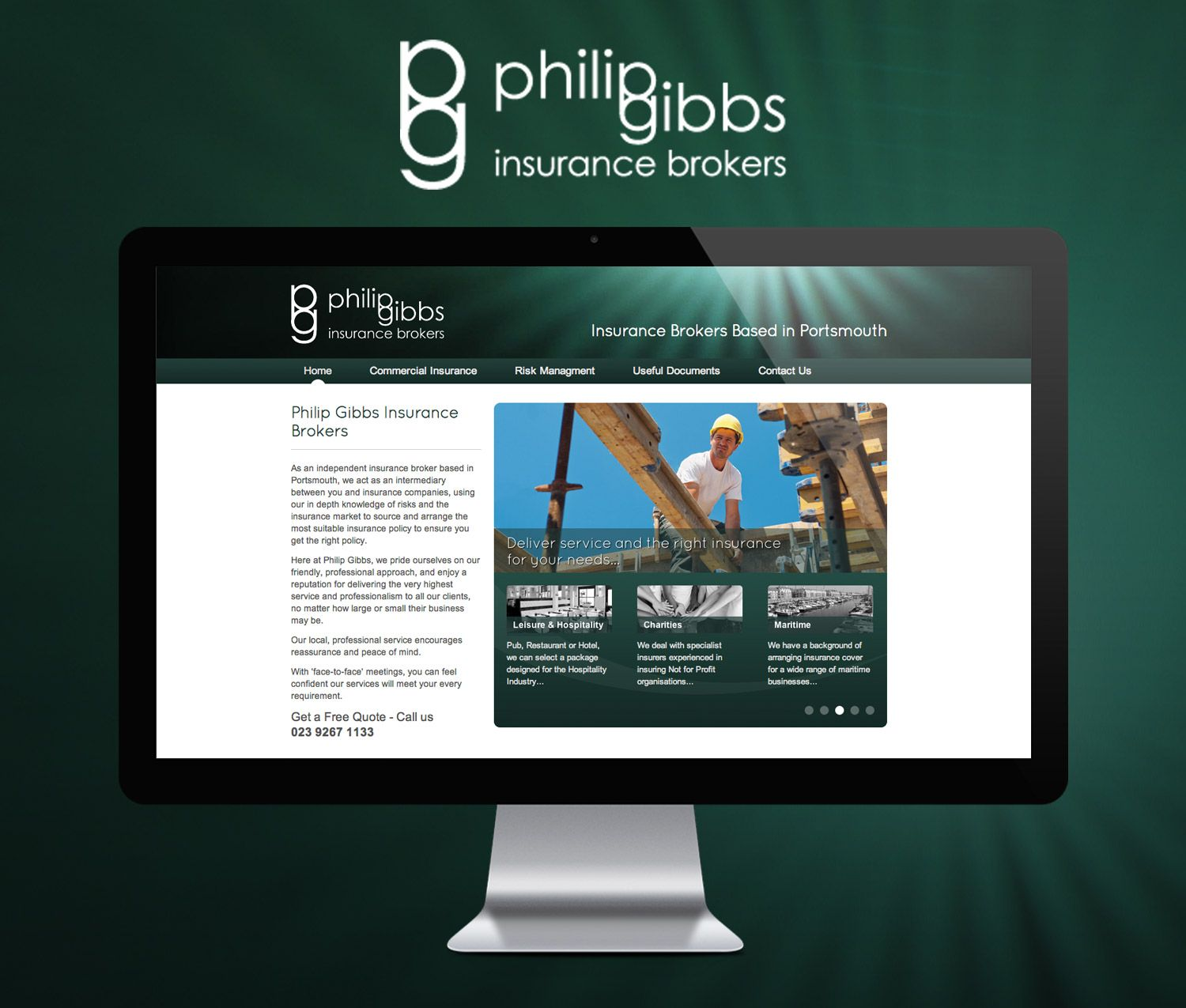 Design And Technical Build Of A New Website For Philip Gibbs Commercial Insurance Brokers Who Are Based In Portsm Commercial Insurance Insurance Broker Brokers
