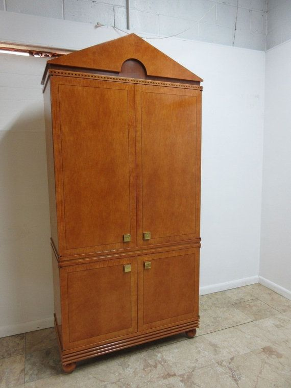 Hickory White Neo Classical Biedermeier Style Wardrobe Armoire Linen Cabinet