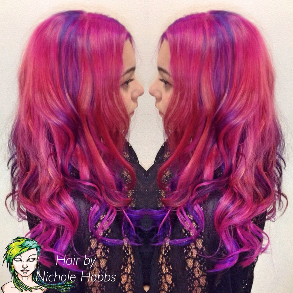 Cheshire Cat Hair Vivid Color Pink Purple Ombre Vivid Highlights Pink Purple Ombre Purple Ombre Long Hair Styles