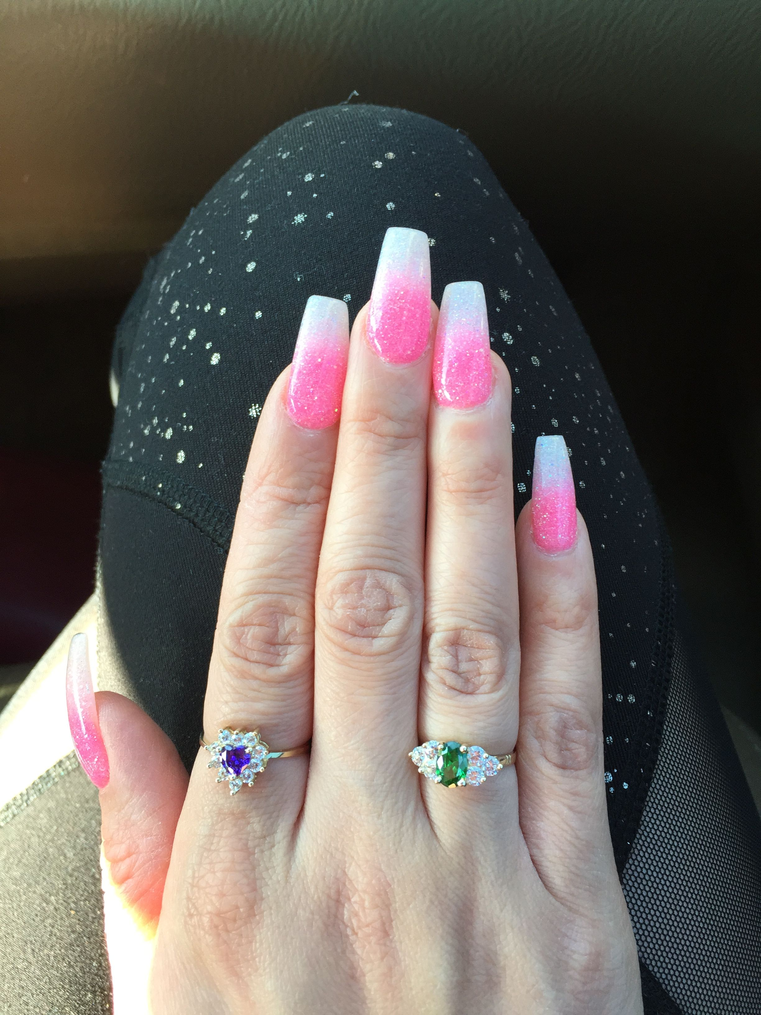 Beautiful Birthday Nails S S Dip Powder Ombre Hot Pink And White Glitter Shout Out To May Luxury Nails Nw Pink Ombre Nails Birthday Nails Pink Nails