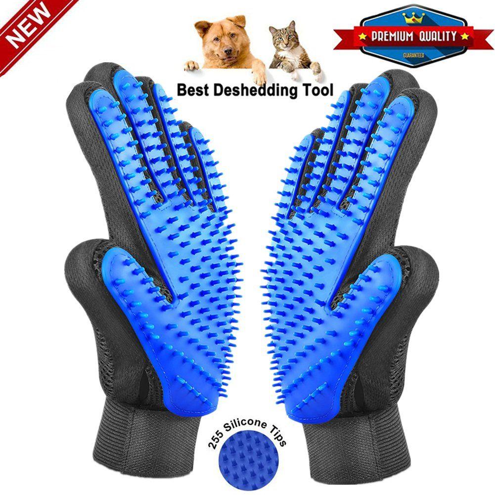 Pet Grooming Glove Gentle Pet DeShedding Brush gloves
