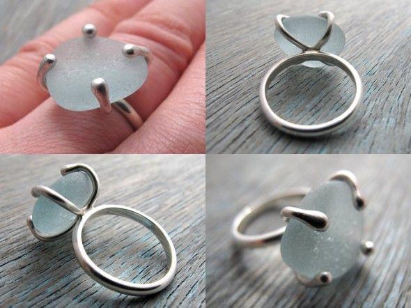 blue sea glass ring pinterest silberschmuck schmuck und selber machen. Black Bedroom Furniture Sets. Home Design Ideas