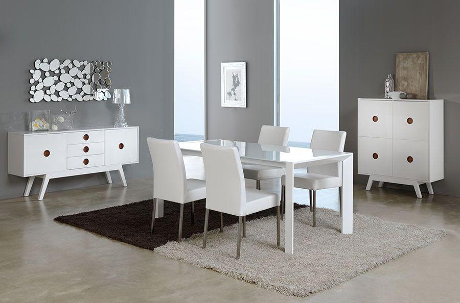 Salle à manger complète design VERONICA, coloris blanc laqué Salle
