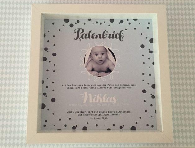 Personalisierter Patenbrief Mit Rahmen Punkte Pinterest