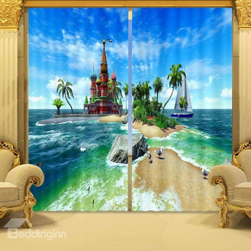 Scenery Curtains 3d dreamy castles on the sea printed living room and bedroom