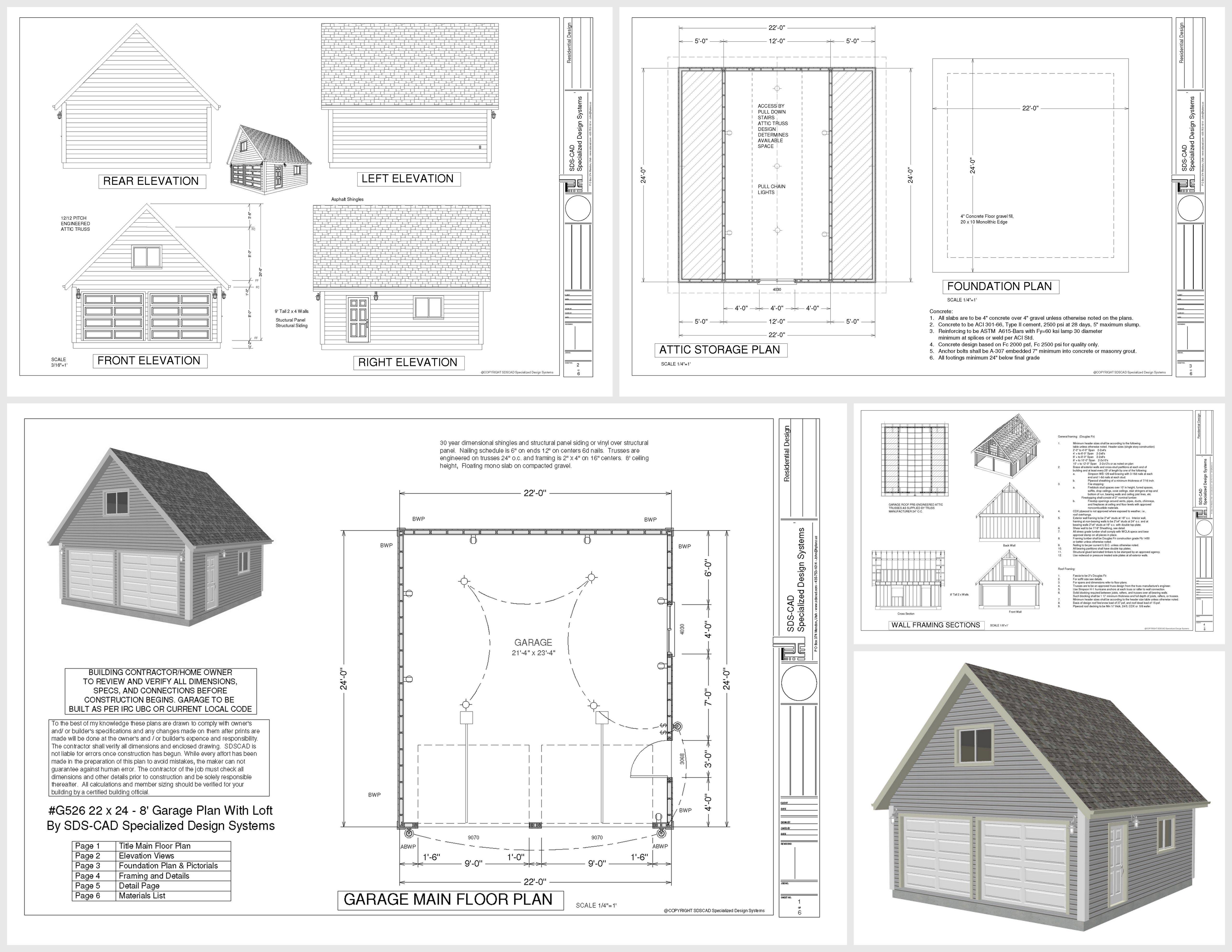 G526 22 X 24 8 Garage Plan With Loft Dwg And Pdf Garage Plans With Loft Garage Plans Shop Plans